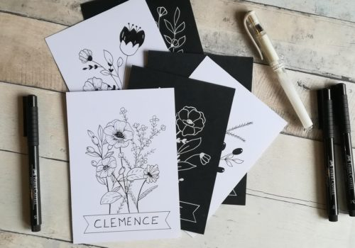 cartes en doodle floral façon Shayda Campbell